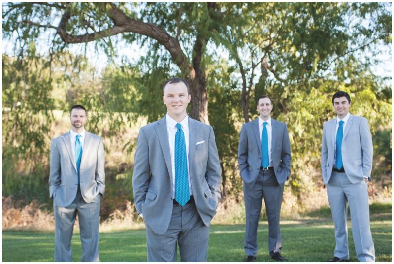 groomsmen in grey and blue