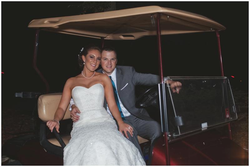 bride and groom getaway