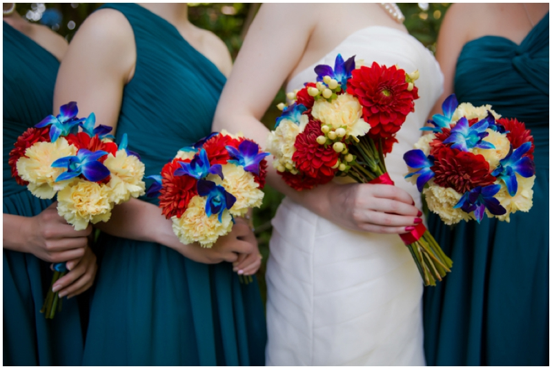 retro inspired colorful bouquets