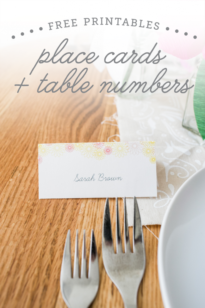 free printable place cards and table numbers -- so cute for spring!!