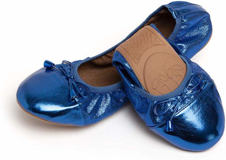 Talaria Flats - Foldable Ballet Flats for Weddings - Blue