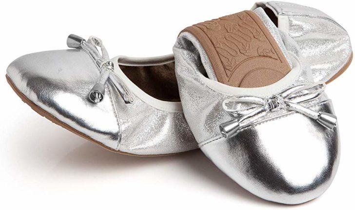 Talaria Flats - Foldable Ballet Flats for Weddings - Silver