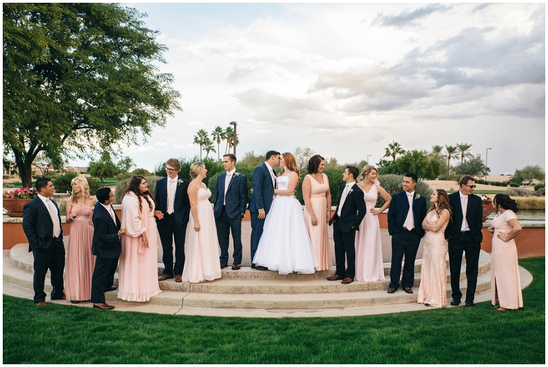 pink and gray bridal party