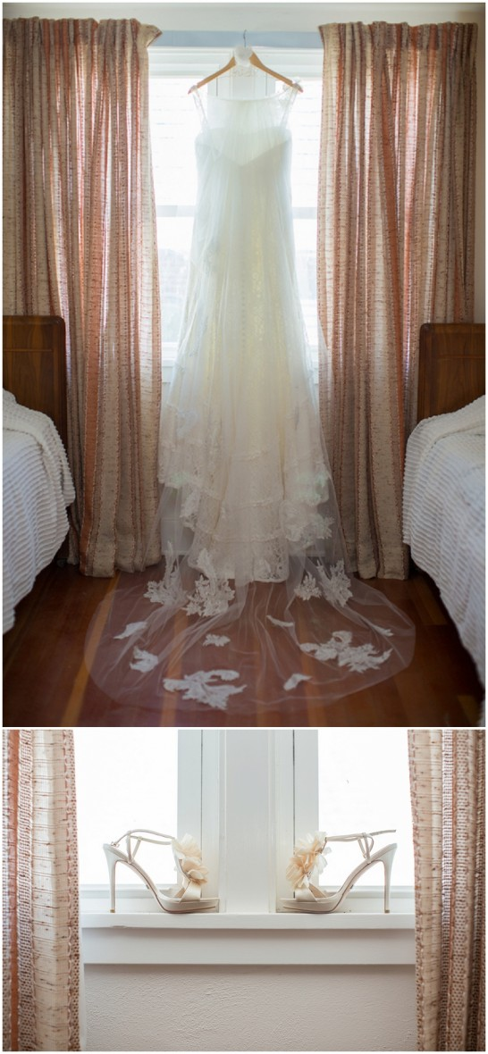 bride shoes and dress