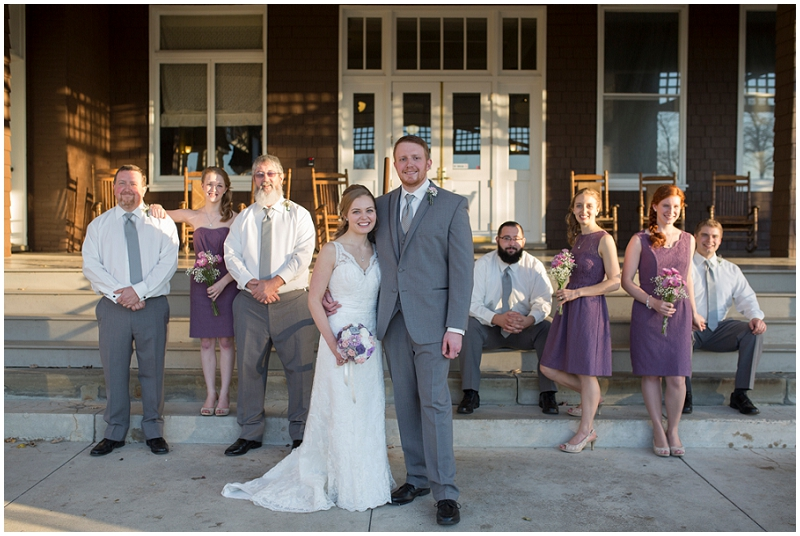 gray and lavender wedding party