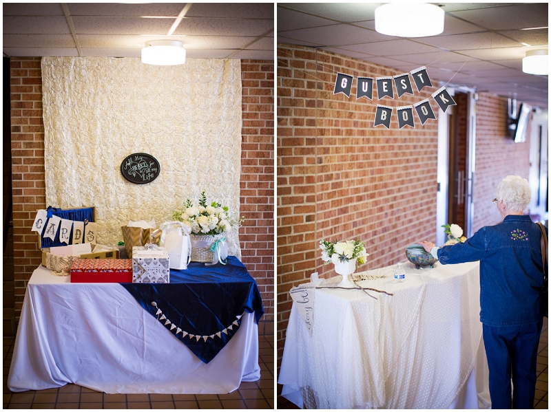 guest book and gift table