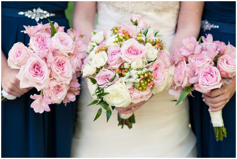 pink and navy wedding flowers