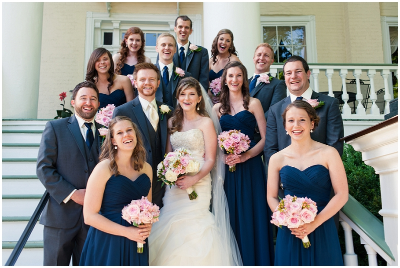 pink and navy bridal party