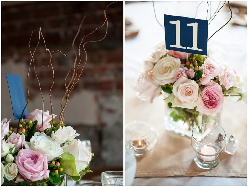 pink, navy and white centerpieces