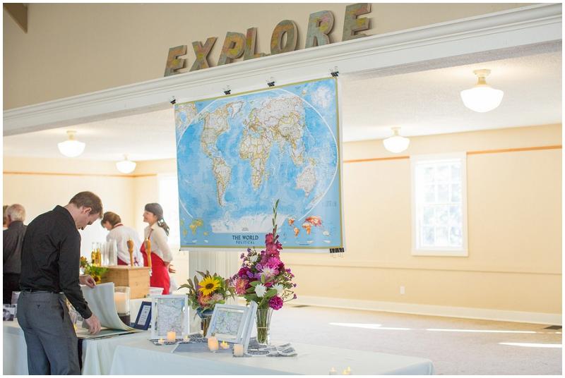 travel-theme wedding decor