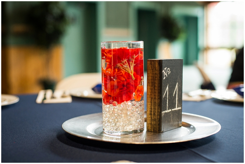 navy and rust centerpieces
