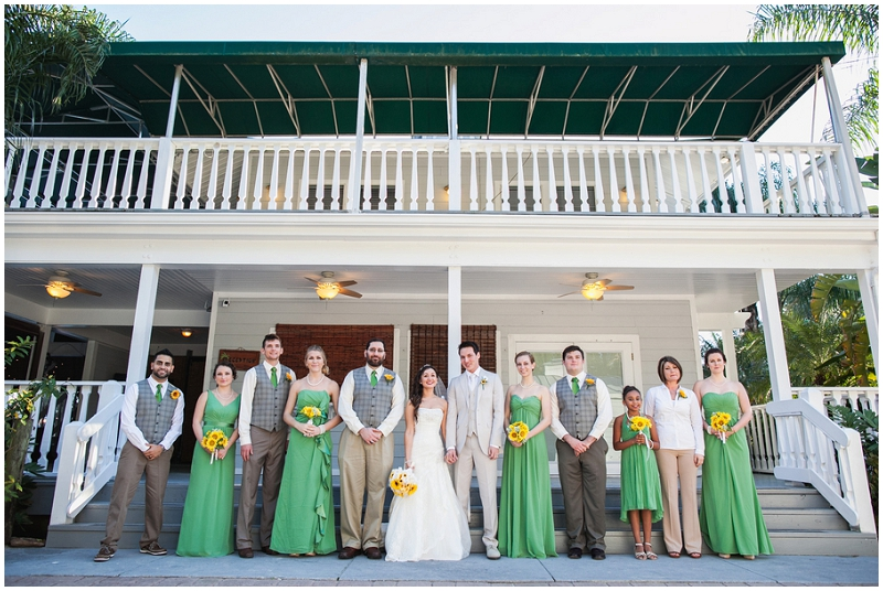 green and yellow wedding party