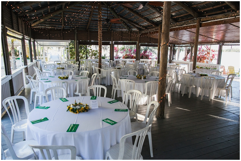 green and yellow reception decor