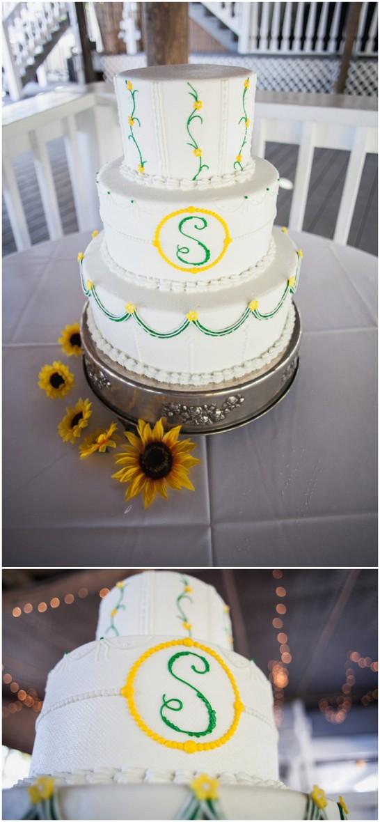 green and yellow wedding cake