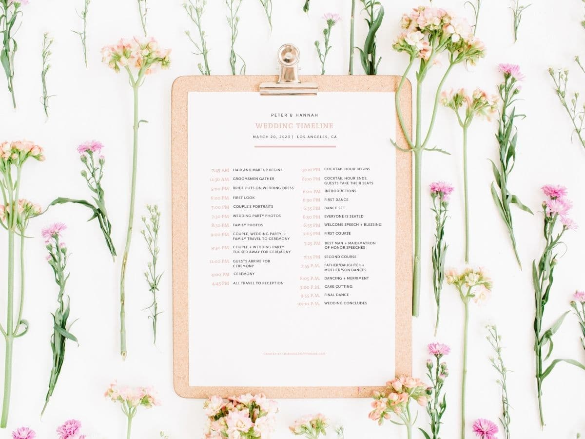 What to include in a wedding day timeline