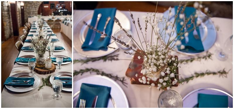 aqua and silver table decor