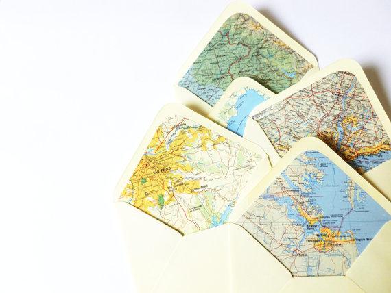 map lined envelopes