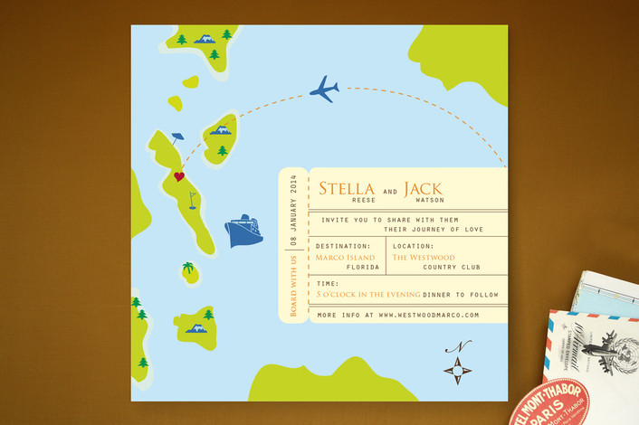 square travel theme wedding invitations