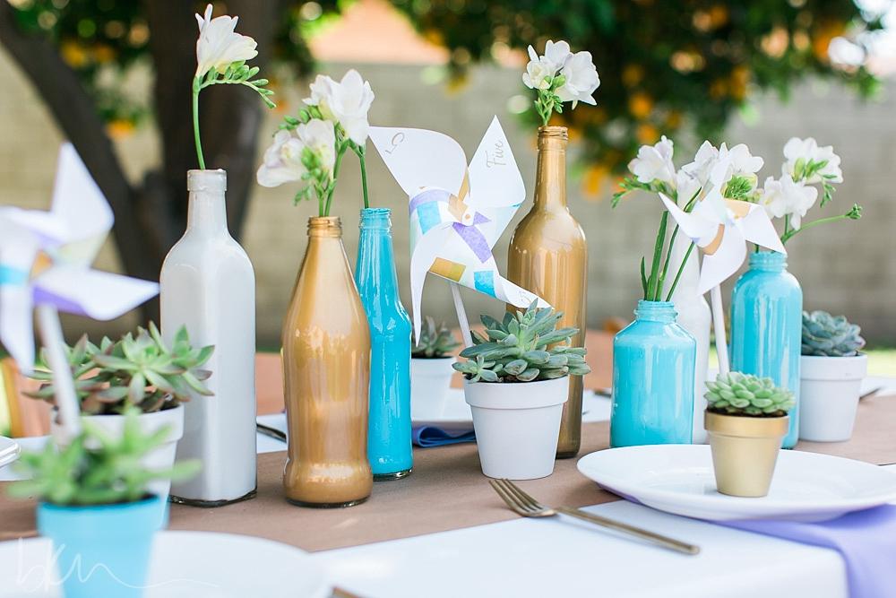 diy painted bottle wedding centerpiece tutorial