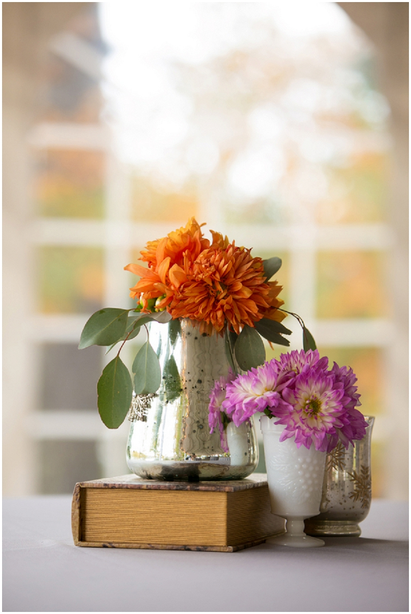 orange and purple wedding flowers