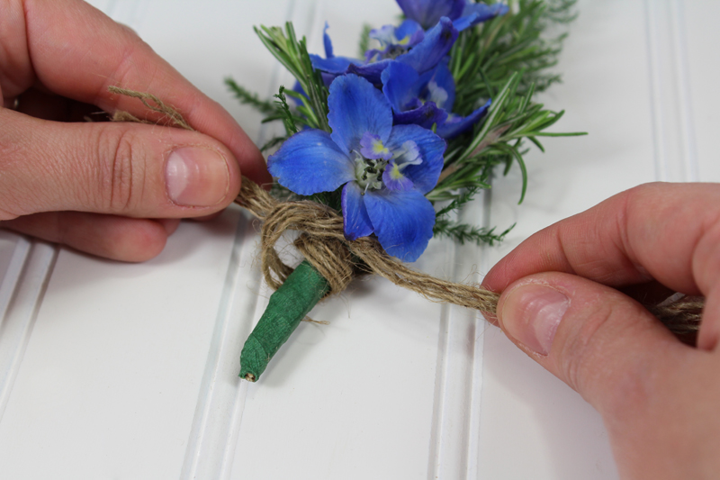 DIY Tied Boutonniere Tutorial