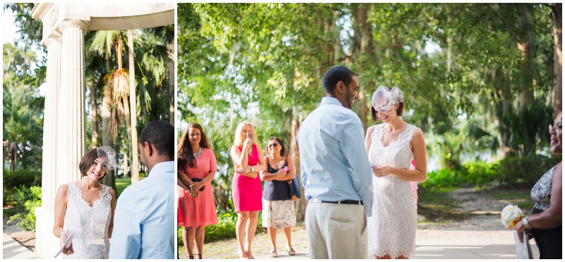 outdoor wedding ceremony exchanging vows