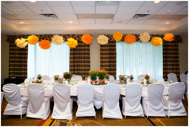 orange and blue reception decor