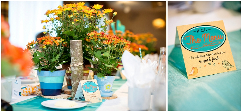 blue and orange wedding reception decor