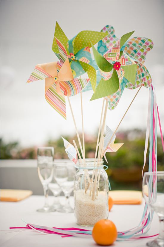 pinwheel wedding centerpiece
