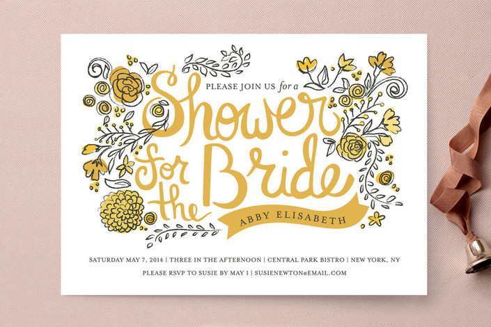 Whimsical Floral Bridal Shower Invitations from Minted