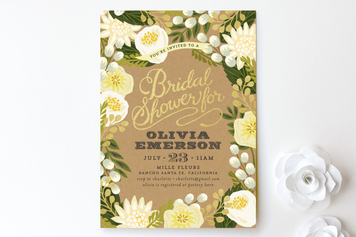 Foil + Floral Bridal Shower Invitations from Minted
