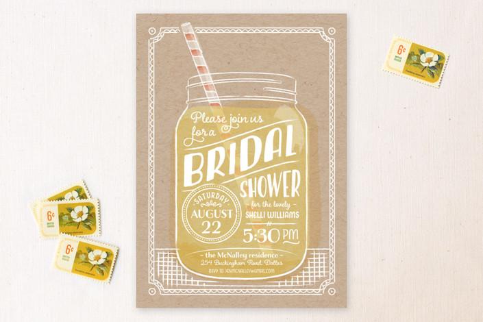 Lemonade Mason Jar Bridal Shower Invitations from Minted
