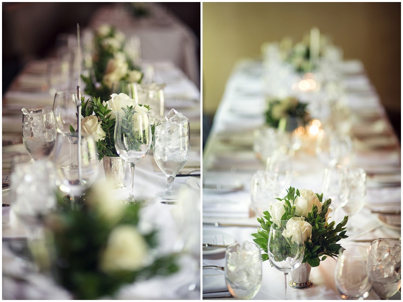 green and white reception decor