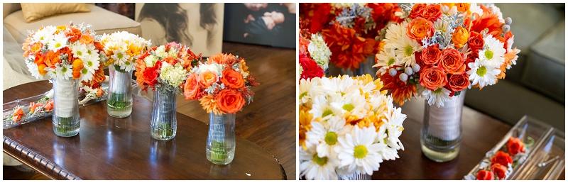 orange and white wedding flowers