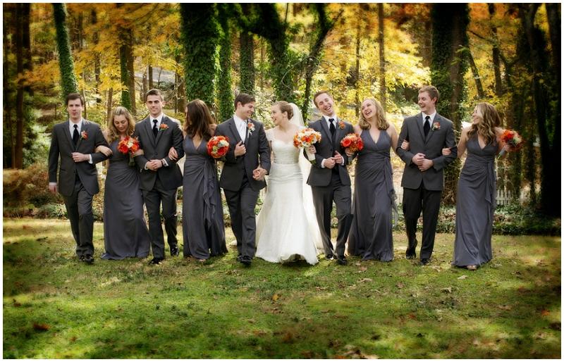 gray and orange wedding flowers