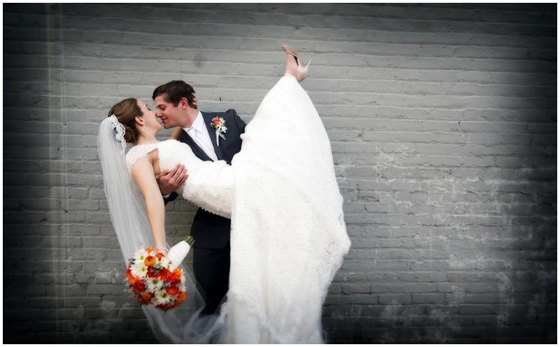 orange and gray wedding photos