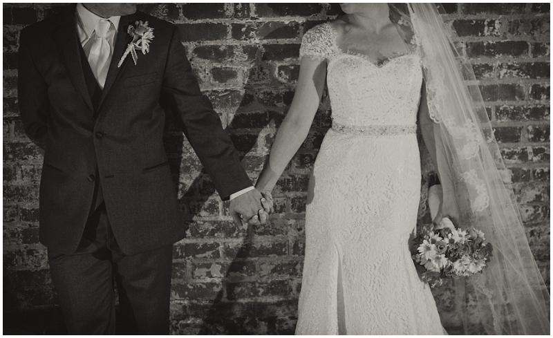 brick wall wedding photos