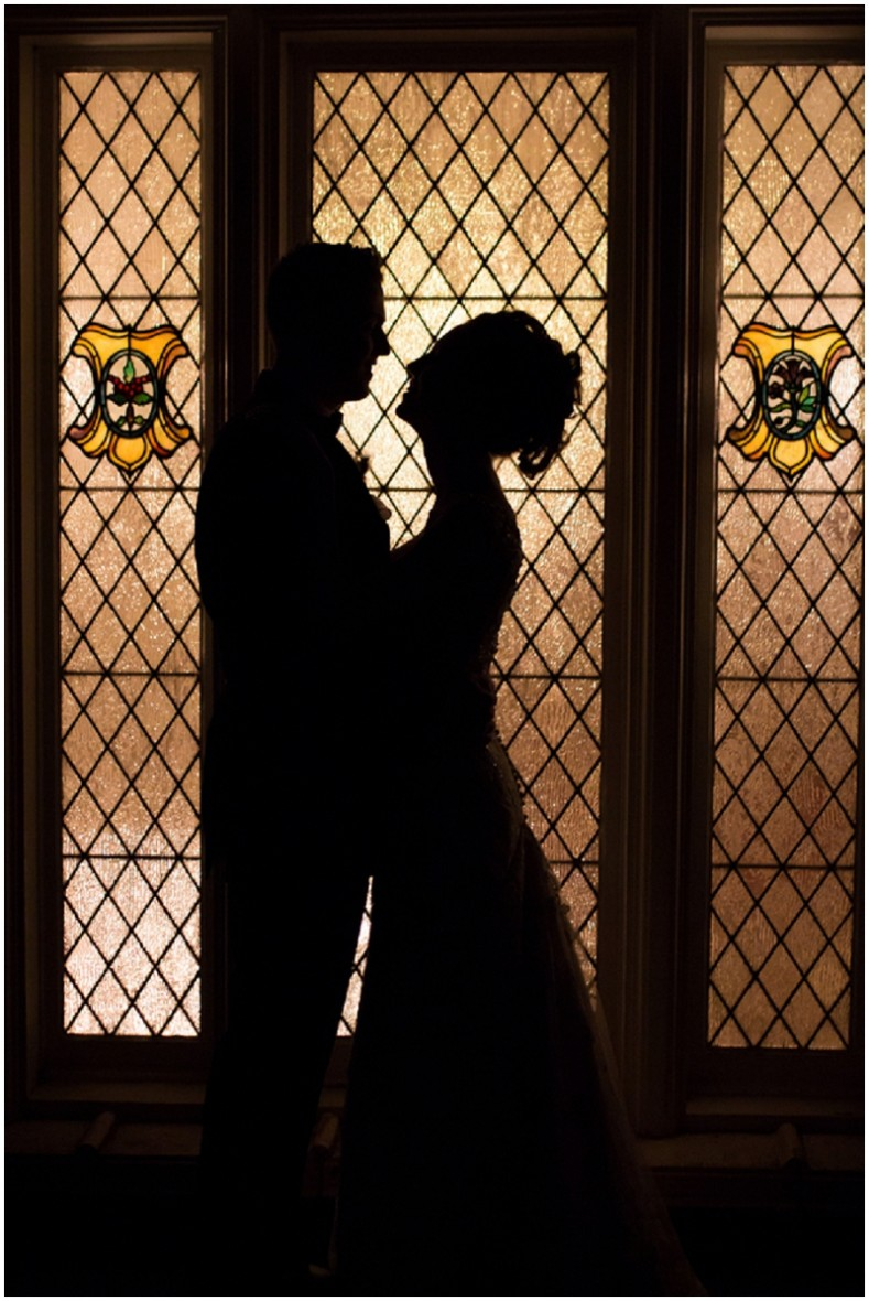 stained glass wedding photo