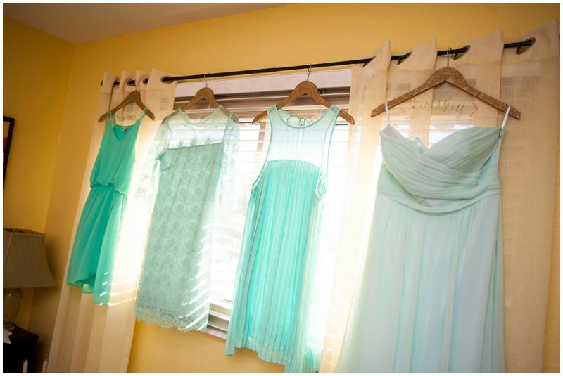 mismatched teal wedding dresses - vintage wedding