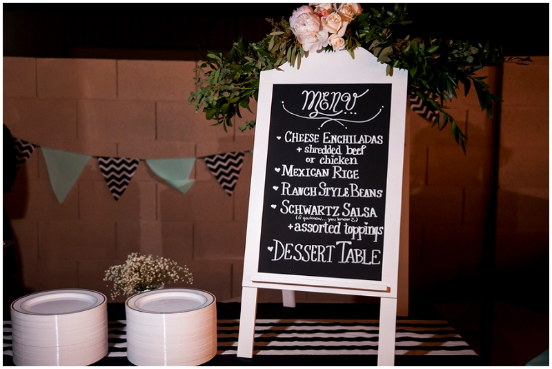 menu wedding signage
