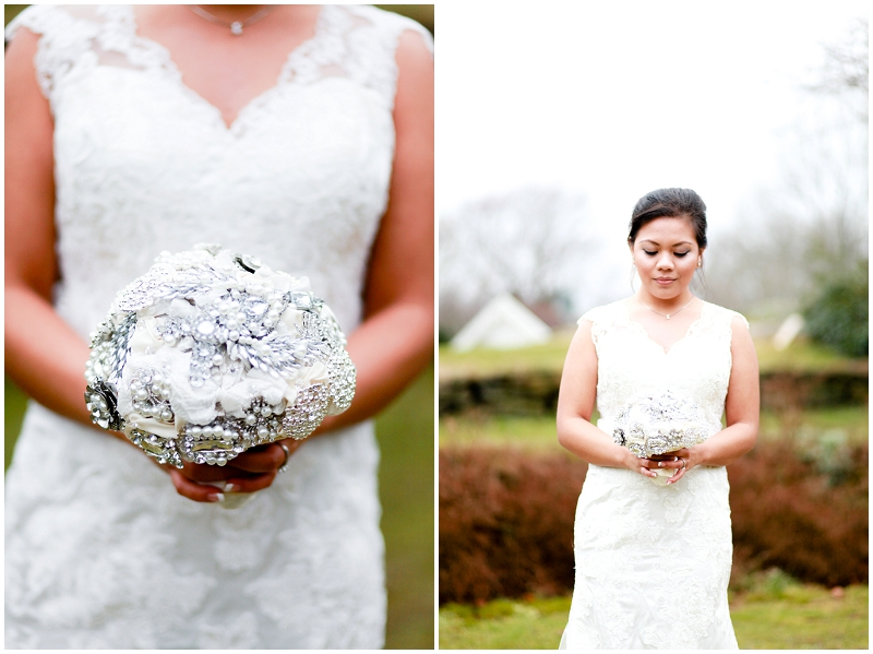 white and silver broach bouquet