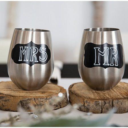 silver wedding tumblers
