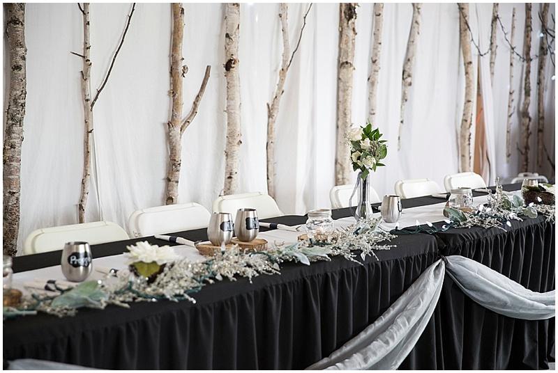 black and silver reception decor