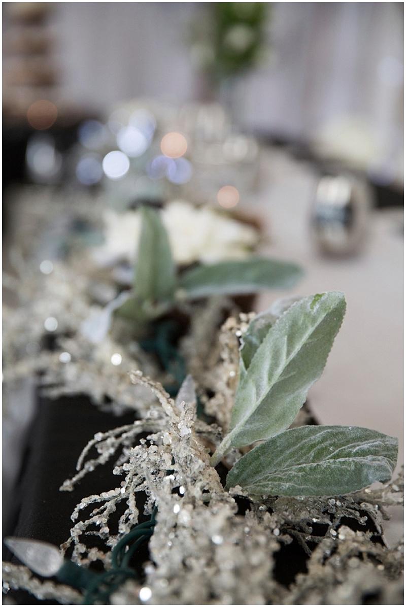 black and silver wedding reception decor