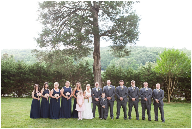 navy and gray wedding party