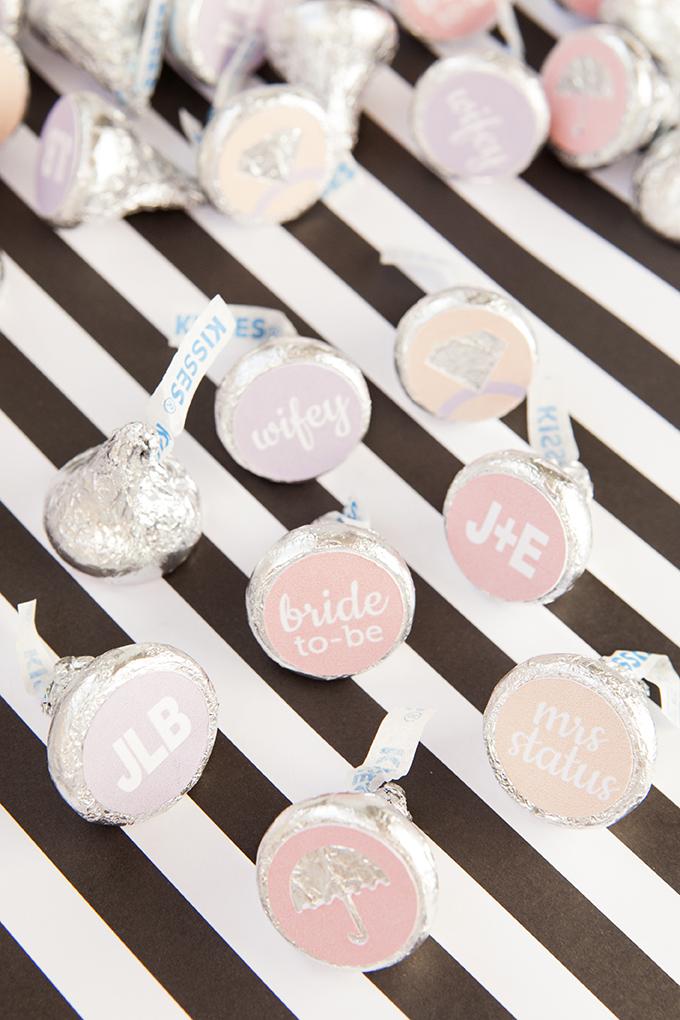custom hershey kiss wedding favor stickers with custom text