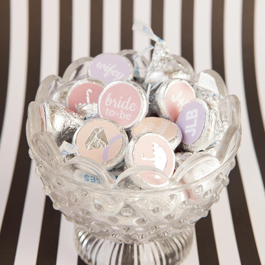 custom diy hershey kiss stickers - bridal shower favors