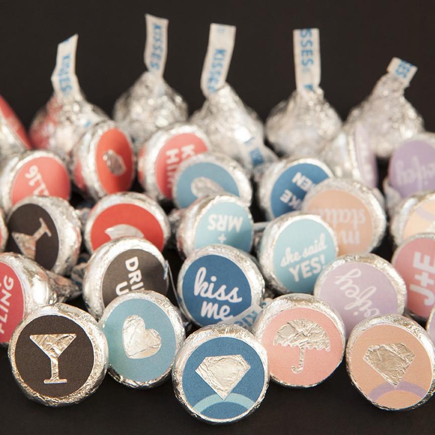 custom hershey kiss wedding favor stickers