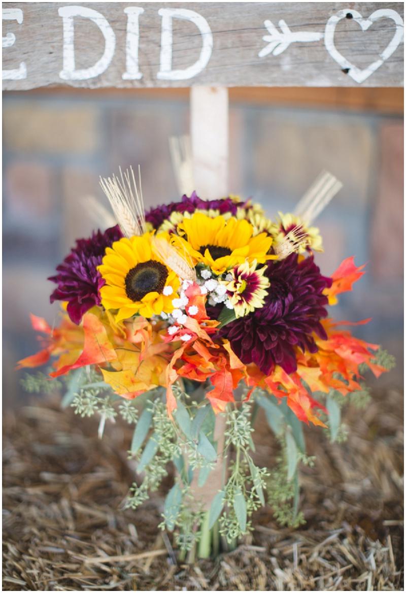 sunflower and mums wedding bouquet