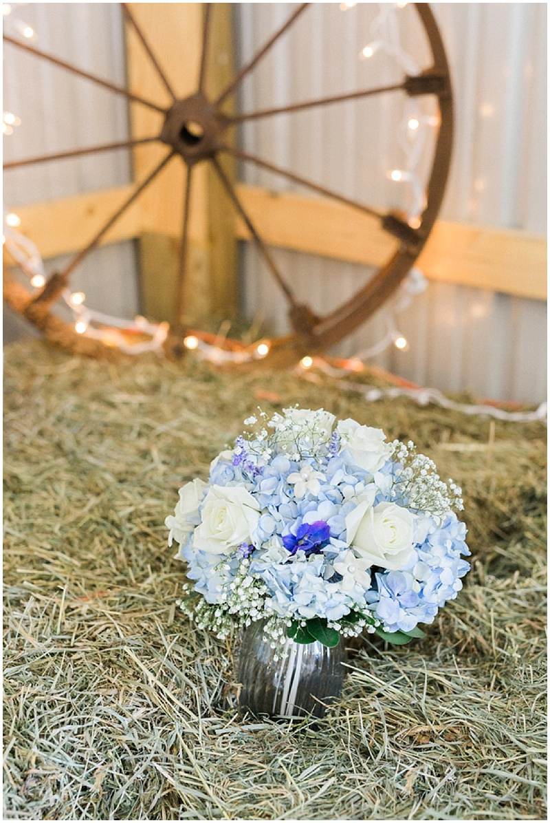 blue and white wedding bouquet -rustic farm wedding